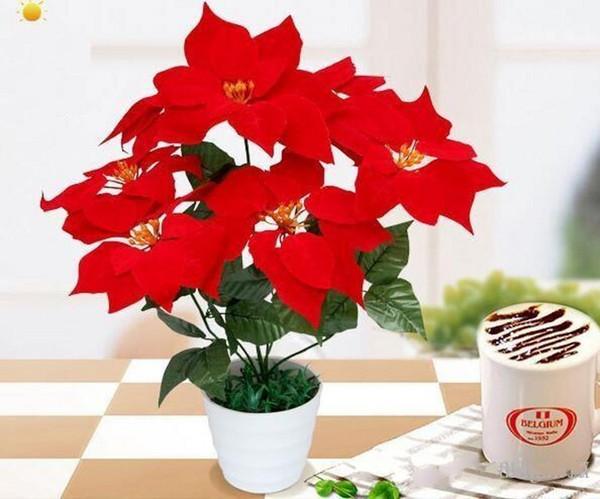 "45CM 19.7"" Fake Artificial Flowers poinsettia 7 head Christmas Silk Poinsettias Flower Bouquet Home Party table Decoration"