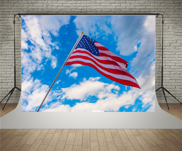 SUSU Scenic Blue Sky Photography Backdrops 7x5ft USA Flag Photo Background to Celebrate Independence Day Photo Video