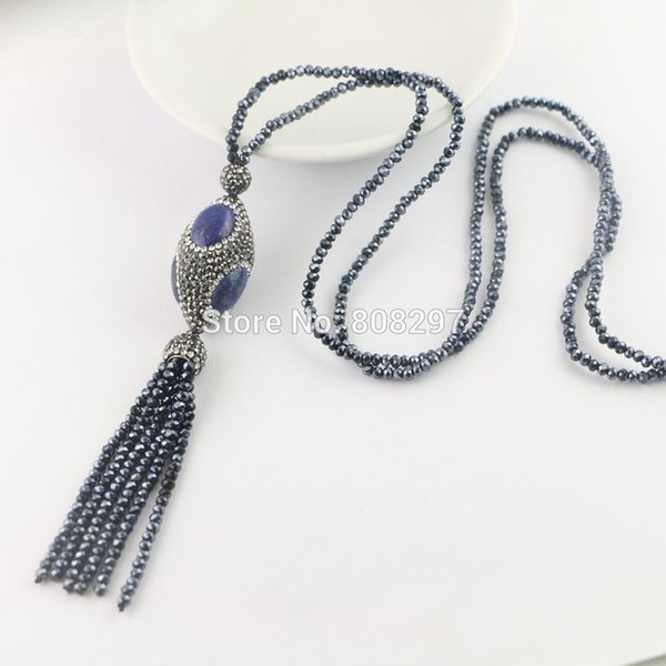 New Style 4Pcs Pave Rhinestone Lapis lazuli Beads , Crystal Tassels Chains Charms Necklaces Pendants Jewelry Gift