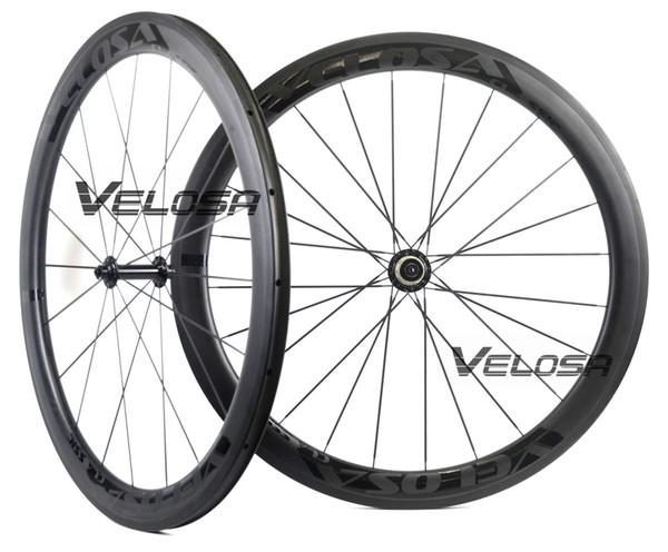 Velosa Race 50 black series road bike carbon wheelset,700C road bike wheel,50mm clincher/tubular,Ceramic bearings, super light