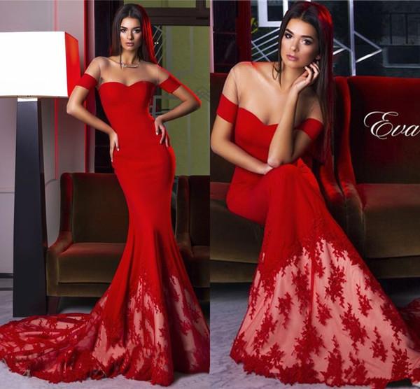 Großhandel 2017 Sexy Red Vintage Spitze Kanten Mermaid Prom Kleider ...
