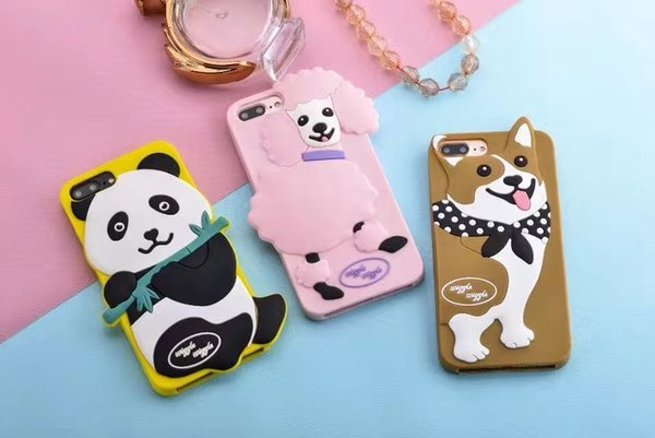 For iPhone 7 case 3D cute cartoon Gog and Panda Soft silicone Phone Case back protective Cover shell For iPhone 6S 7 Plus 5S