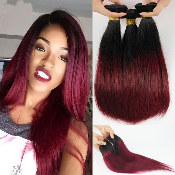 Ombre Brazilian Virgin Hair Bundles With Lace Closure T1b 99j Two Tone Straight Human Hair Weaves Closure Double Weft Extensions 4pcs Lot