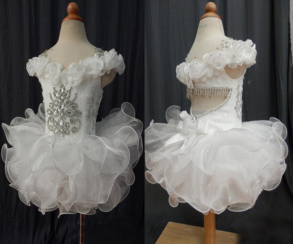 Wholesale New White off shoulder lace beaded bow organza hand made flower cupcake little girls pageant dresses kids toddler ball gowns