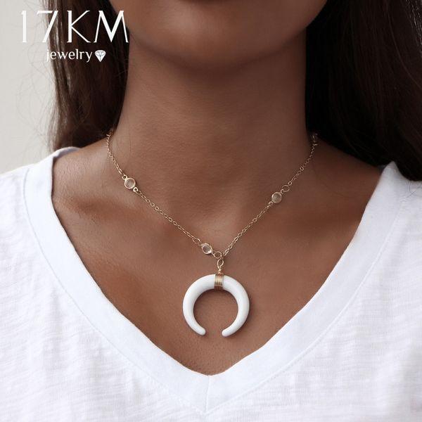 Großhandels-17KM Böhmische Halsreifen Acryl Ox Horn Mond Crescent Halsketten 2017 Vintage Bijoux Handgemachte Kristall Halskette für Frauen