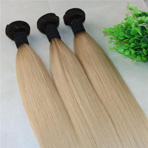 Ombre Blonde Hair Weaves Brazilian Straight Human Hair Extensions Remy Hair Bundles 613 Color Light Blonde 100gram Per Piece