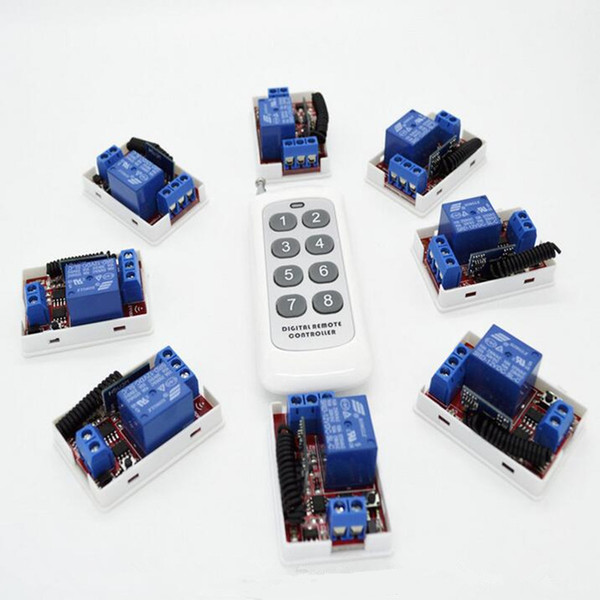 Wholesale- 8pcs 433 Mhz Wireless Remote Control Switch DC 12V 10A 1CH relay Receiver Module with One Transmitter For Light Door Gate Garage