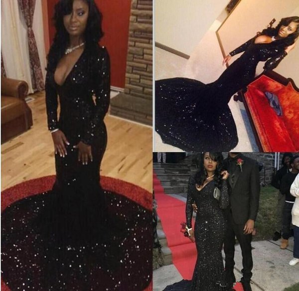 Long Sleeve formal mermaid evening dresses black sequined prom party dresses african prom dresses sexy v-neck trumpet fitted evening gowns