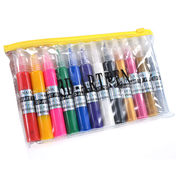 Wholesale 12 Mix Colour Nail Art 3d Drawing Paint Pen Acrylic Liquid ...