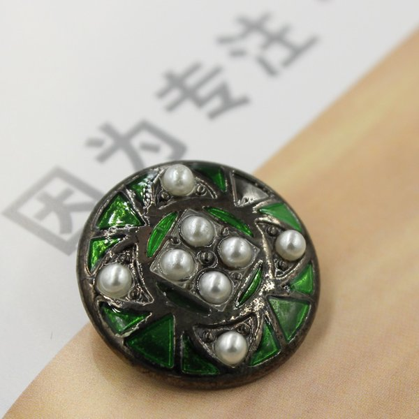 Hot sale in Europe and America New Design Alloy oil Rhinestone clothing Button Exquisite Retro pearl button 50pcs/lot#01542#