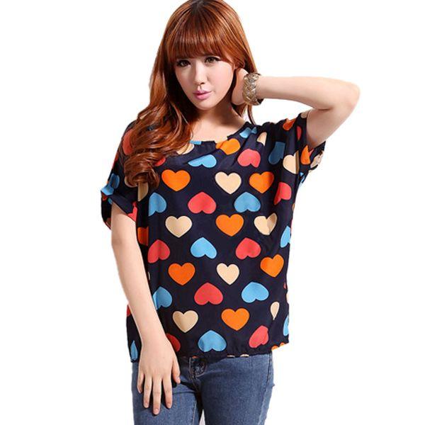 Wholesale- Women Chiffon T Shirts Tops Loose Short Sleeve Ladies T-shirts Striped Heart Lip