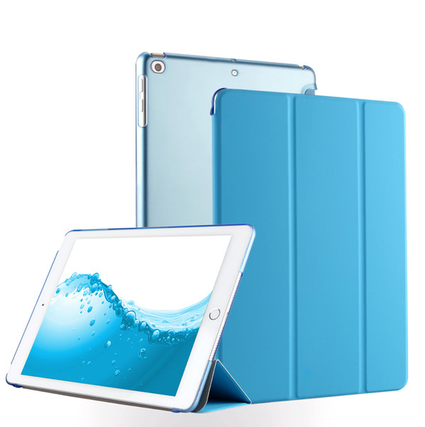 top popular Smart Magnetic Cover PU Leather with Translucent Hard stand Back Case Auto Sleep Wake For ipad air 2 mini 2 3 4 Pro 9.7 10.5 ipad 2017 2018 2020
