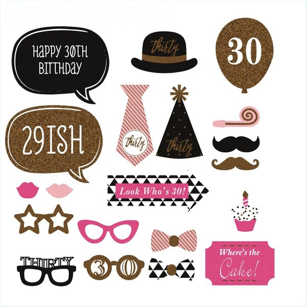 20pcs/lot Man Woman style 30 Years Moustache Glass Mask Photo Booth Props 30th Birthday Funny Party Decoration Supplies