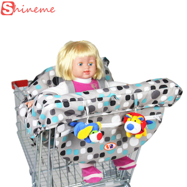 Wholesale-Brand 2 colors five-point harness quality safety folding supermarket infant child shopping cart cover for baby