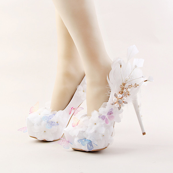 Beautiful White Satin Women High Heel Shoes With Butterfly And Feather Rhinestone Bridal Shoes Wedding Party Pumps Banquet Shoes Shoes Heels Shop