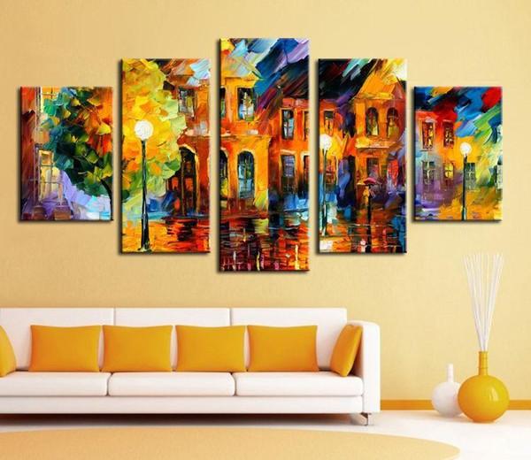 캔버스 도시 거리 풍경 팔레트 나이프 회화 홈 벽 장식 예술 LA9에 프레임 5 개 패널 지에 handpainted 현대 유화