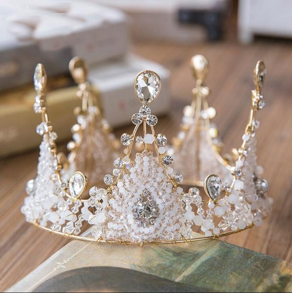 Der ganze Ring Luxus handgefertigte Kristall Perlen Krone Kopf Krone Hochzeit Krone Braut Zubehör hochwertige QUEEN Style 2017