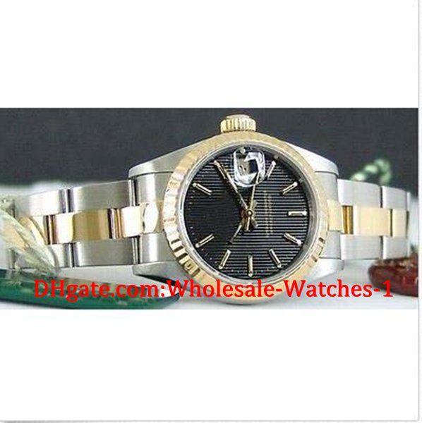 New arrive Luxury watches free gift box Wrist watch 26mm 18kt Gold SS Ladies Black Tapestry Dial 69173