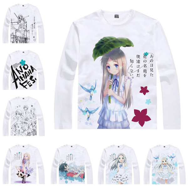 Japanese Anime Shirt Anohana The Flower We Saw That Day T-Shirts Multi-style Long Sleeve Honma Meiko Cosplay Costume Kawaii Gift