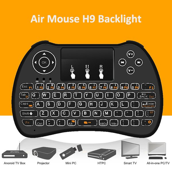 Wireless Keyboard H9 Backlit Keyboards Fly Air Mouse Multi-Media Remote Control Touchpad Handheld For S905X X96 TV BOX Android Mini PC