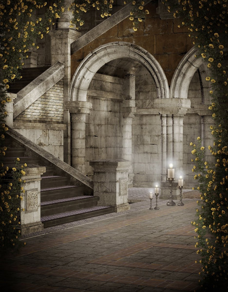Vintage Castle Courtyard Photography Backdrops Yellow Roses Vines Gray Pillars Stairs Digital Photo Booth Studio Backgrounds Brick Floor