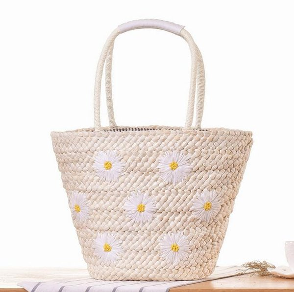 998cbed05bad0 sales brand package New Handmade Embroidery Flower handbag fashion large  capacity embroidery Daisy woven bag summer holiday beach bag