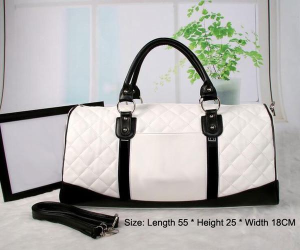 New 2017 Women Fashion Waterproof Large Capacity Black LOGO Duffle Bag Girls Weekend Beach Luggage Bags Leather Travel Bag