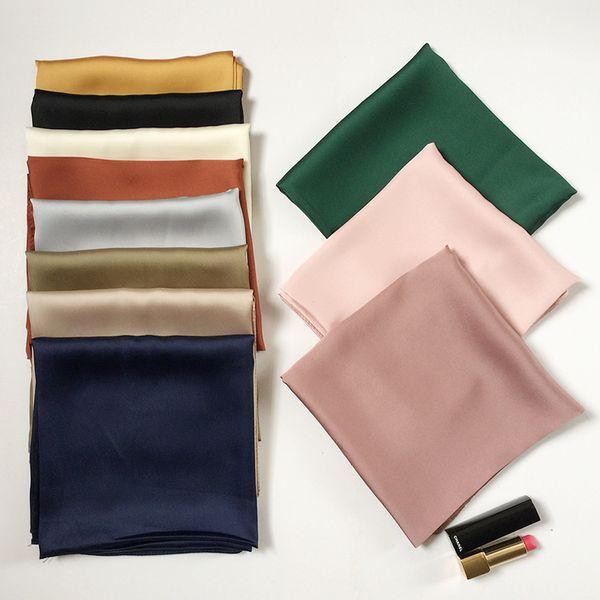 best selling Silk scarves fashion simple monochrome neckerchief hair bands ladies retro silk solid color Headband handkerchief wholesale free shipping