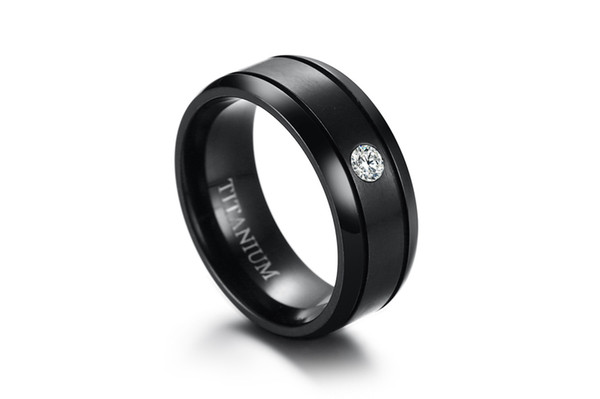 KNOBSPIN Men's Trendy Stainless Steel Black Ring 8mm Matte Wedding Ring with CZ Stone Simple Men Jewelry Anillos Size 8-12