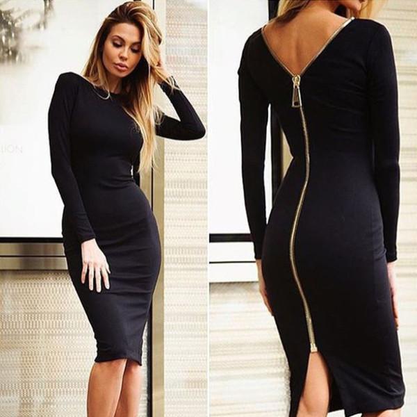 Yeni Stil Örme Seksi Kadın Elbise Gece Kulübü Kılıf Elbiseler Moda Uzun Kollu Arkada Diz Boyu Fermuarlar Vestidos