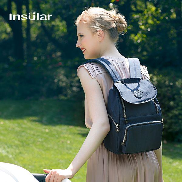 top popular Insular Multifunctional Baby Diaper Bag Backapck Waterproof Nappy Bag Mommy Bag 2021