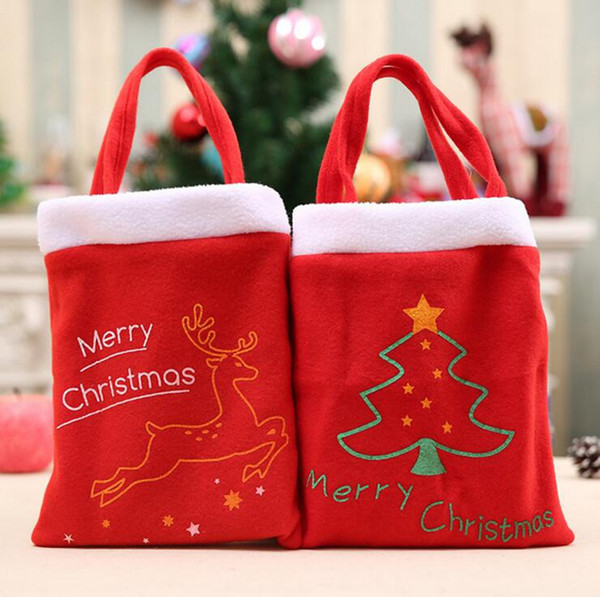 Flannel Christmas Bag Elk Christmas Tree Santa Claus Small Candy Gift Bag Coin Pouch Bag Handbag Totes OOA2691