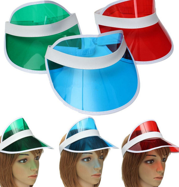 top popular sun visor sunvisor party hat clear plastic cap transparent pvc sun hats sunscreen hat Tennis Beach elastic hats KKA1346 2020