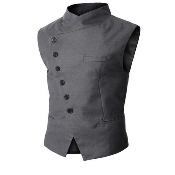 Wholesale- New men's vest vest turtleneck oblique mouth men suit vest wedding waistcoats single breasted waistcoat for sale Custom Made