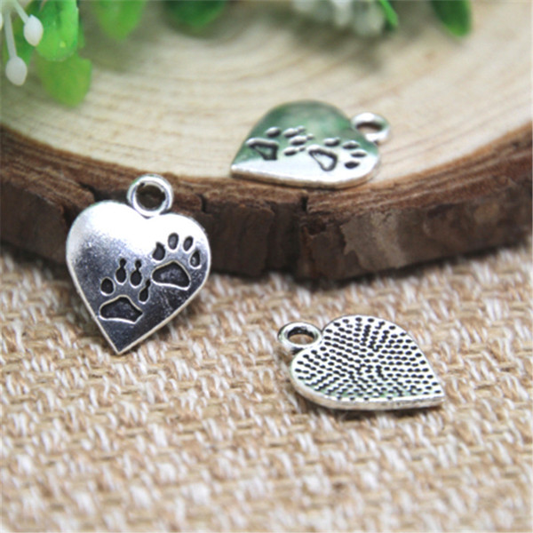 25pcs-- Paws Heart Charms ton argent Dog Lovers charmes pendentifs 17x14mm