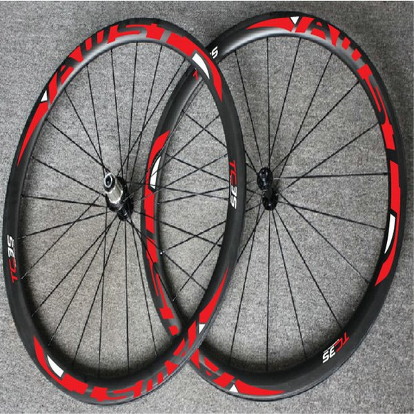 AWST TC 35 red decal 38mm full carbon bike wheels tubular taiwan road bike wheels with ceramic bearing hubs bicycle wheels free shipping