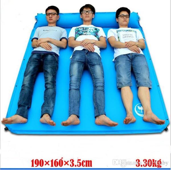 Автоматическое раздутие спальный коврик для кемпинга коврики надувание влажной доказательство открытый пешие прогулки коврики двойной три человека воздушной подушке пикник кровать ковер B2565