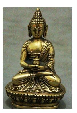 Copper Brass CHINESE crafts decoration Tibet Brass Buddhism Ayutthaya Shakyamuni Sakyamuni Buddha Bowl Statue Figurine crafts decoration