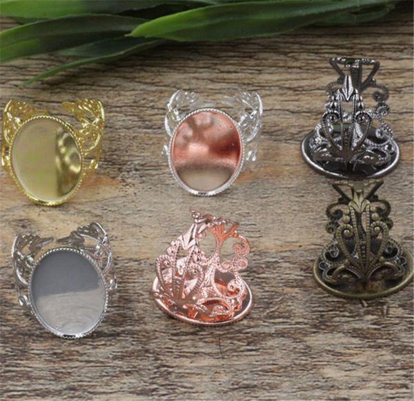 BoYuTe 20Pcs 6 colori placcato anello regolabile vuoto castone vassoio 13 * 18mm ovale cabochon impostazione base fai da te monili che fanno materiale