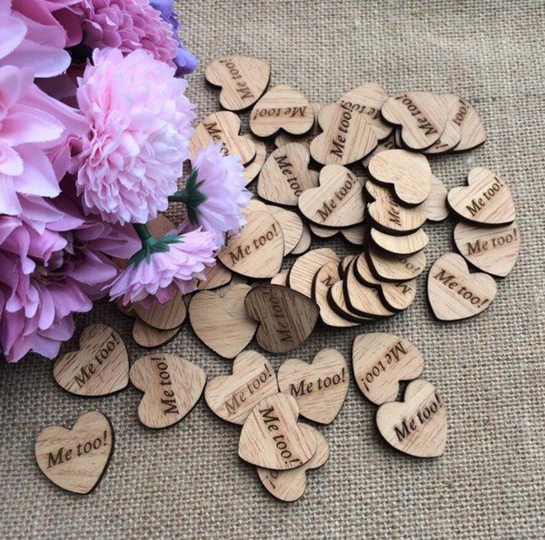 "300pcs ""Me too!"" Letter Wooden Button Beads For Table Ornaments Wedding Decoration Photography Props"