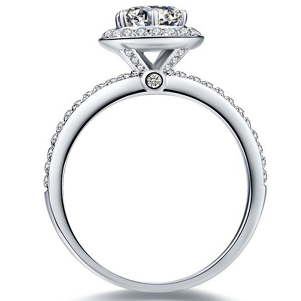 Chic Jewelry 1CT Round Cut Synthetic Diamond Women Wedding Ring Solid Sterling Silver Women Annivesary Day Gift Brilliant Forever Jewelry