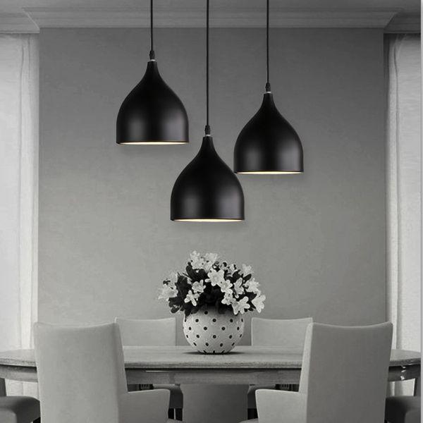 Lampade ristorante Lampade in alluminio a sospensione a tulipano una borsa Nordic classico combinazione pasti lampadari E27 Tre lampadario a testa singola