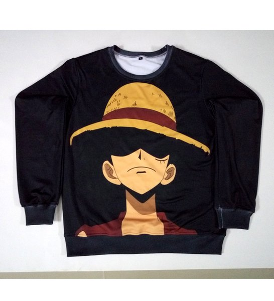 Real USA Size one piece new world luffy 3D Sublimation print custom made Crewneck Sweatshirt plus size 3XL 4XL 5XL 6XL