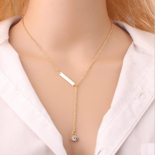 top popular New style Hot sale simple Fashion metal Gold Plated Pendant Lariat Crystal gem Long necklace For Women jewelry wholesale 2019