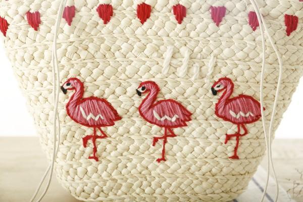 2017 Hot New Bordado Coreano Saco de Mão das Mulheres Grande Saco de Ombro De Palha Moda Praia Flamingo Sacos Tote Grande Saco De Tecido