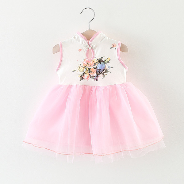 Baby Girl Summer Dress 2017 Fashion Chinese Style Cute Print Flower Kids Dresses for Girls Clothes Infant 1-3 Year Birthday Party Dress