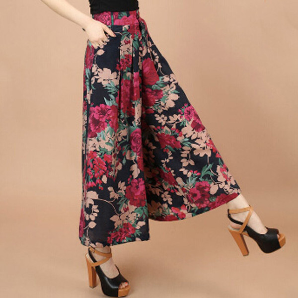 Plus size Summer Women Print Flower Pattern Wide Leg Loose Linen Dress Pants Female Casual Skirt Trousers Capris Culottes N597
