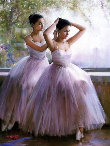 Pittura a olio incorniciata dipinta a mano su tela belle giovani ragazze di balletto prima della prestazione in vestito bianco multi dimensioni libera il trasporto Ab101