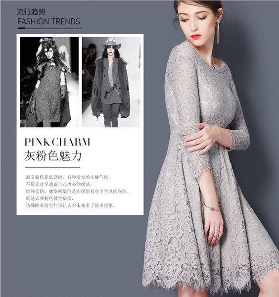Summer Women's Fashion Gray Lace Party Dresses Ladies' Elegant Off-Shoulder Embroidery Dresses Girls Boat Neck High-Waisted One-Piece Dresse