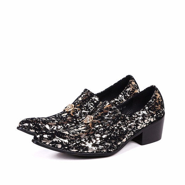 Décolleté con stampa floreale in oro stile inglese su scarpe oxford per uomo Décolleté con punta arrotondata Chaussure Homme